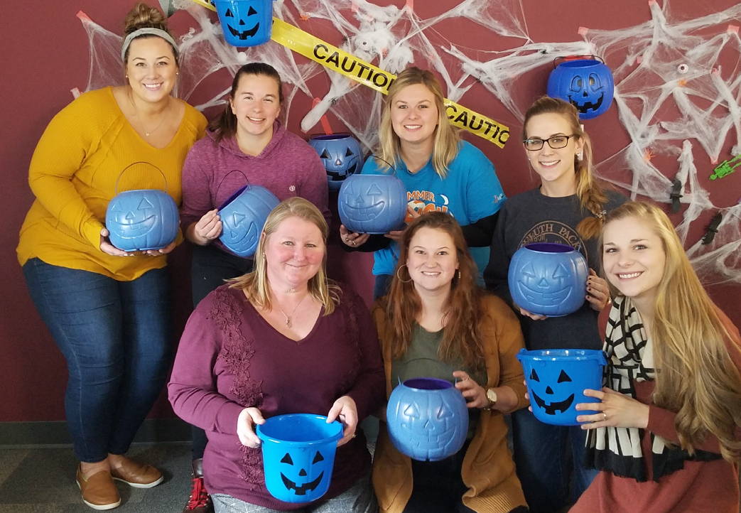 Duluth Therapy Center Team with Blue Pumpkins